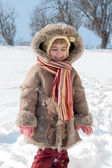 Winter outdoors little girl portrait — Stock Photo