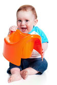 Little boy holding potty — Stock Photo
