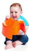 Little boy holding potty — Stock Photo