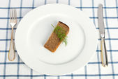 Diet concept (bread and dill on the plate) — Stock Photo