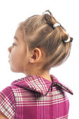 """Cute little girl wearing hairstyle """"snowflake"""" — Stock Photo"""