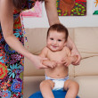 Baby gymnastic and fun — Stock Photo
