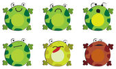The emotions of frog on white background — Stock Vector
