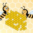 Two bees holding honeycomb on yellow background — Stock Vector