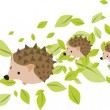 Stock Vector: Mother hedgehog with two hadgehog babies