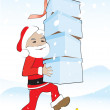 Santa carries the gift boxes and steps on the banana peel — Stock Vector