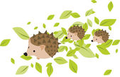 Mother hedgehog with two hadgehog babies — Stock Vector