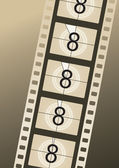 Filmstrip countdown from number eight on brown background — Stock Vector