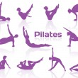 Pilates poses in violet silhouettes — Stock Vector