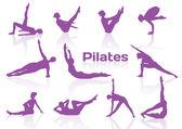 Pilates teşkil etmektedir menekşe silhouettes — Stok Vektör