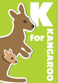 K for the Kangaroo, an animal alphabet for the kids — Vector de stock
