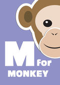 M for the Monkey, an animal alphabet for the kids — Stock Vector