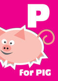 P for the Pig, an animal alphabet for the kids — Stock Vector