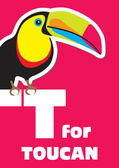T for the Toucan, an animal alphabet for the kids — Stock Vector