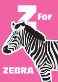 Z for the Zebra, an animal alphabet for the kids — Stock Vector
