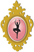 Old golden brooch with ballerina silhouette — Stock Vector