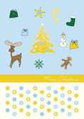 Christmas three gold blue background with moose and gingerbread — Stock Vector