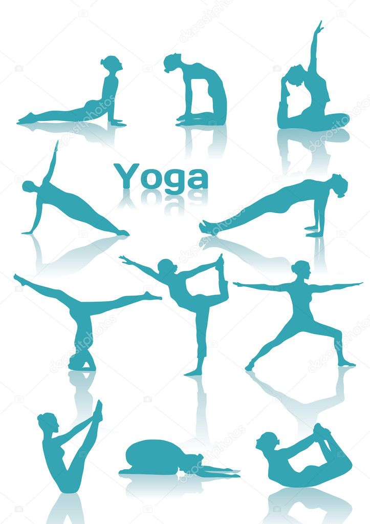 Yoga positions green silhouettes — Stock Vector #14835447