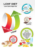Diet Low Carb High Fat (LCHF) infographic — Vector de stock