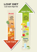 Diet Low Carb High Fat (LCHF) infographic — Stock Vector