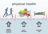 Diagramme physique de la santé: l'activité physique, une bonne nutrition, adeq — Vecteur
