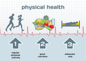 Physical Health diagram: physical activity, good nutrition, adeq — Stok Vektör