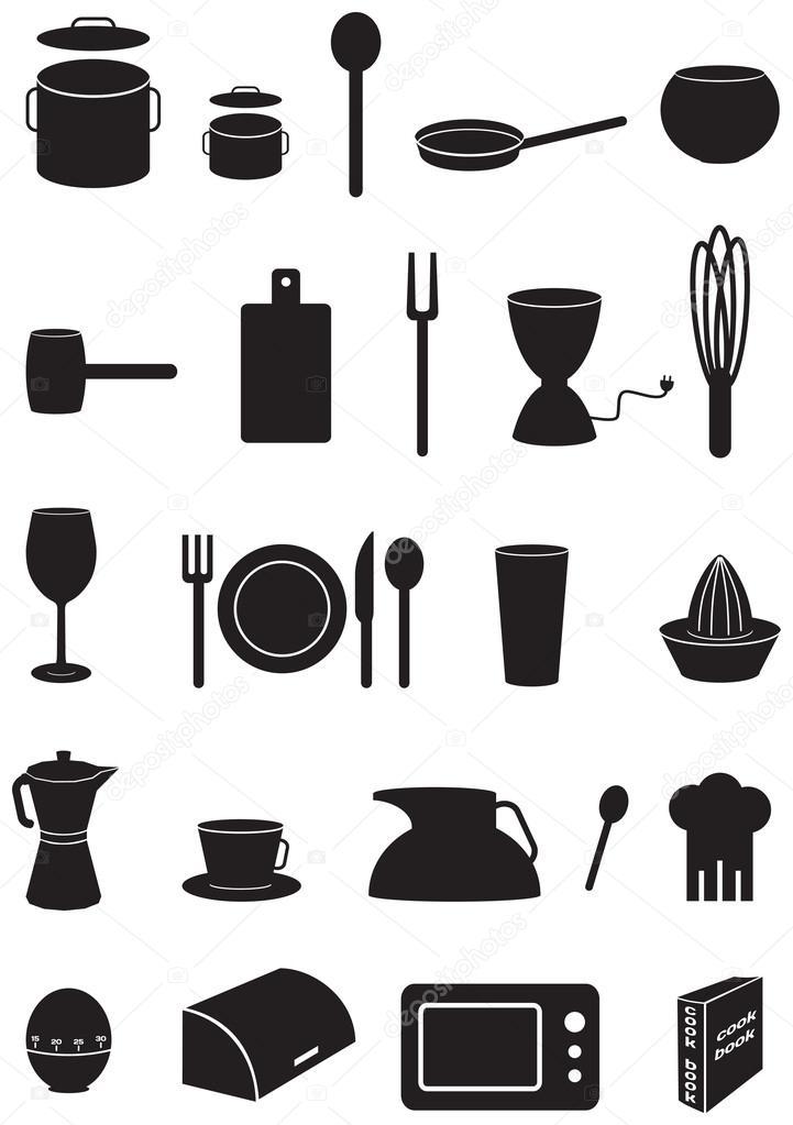 Kitchen icons set black silhouettes on white background for Kitchen set vector