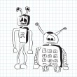 Two funny stupid robots in doodle style - vector - Stock Vector