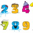 Happy colorful numbers from zero to nine with funny faces for th — Vettoriali Stock