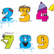 Happy colorful numbers from zero to nine with funny faces for th — Stock vektor