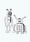 Two funny stupid robots in doodle style - vector — Stock Vector