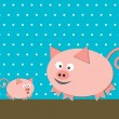 Two funny pigs on turquoise background - Stock Vector