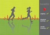 Concept: cardiogram and a physical activity exam, jogging - vect — Stock Vector