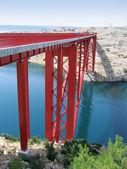 Maslenica červený most v chorvatsko, evropa — Stock fotografie