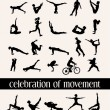 Stock Vector: Celebration of movement in 35 humsilhouettes in various moves