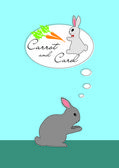 Rabbit thinking about carrot and girl Carol — Vector de stock