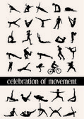 Celebration of movement in 35 human silhouettes in various moves — Stock Vector