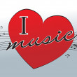 I love music — Stock Vector