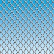 Chain link fence with blue sky background; vector — Stock Vector