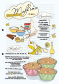 Banana muffin recipe with pictures of ingredients - retro, vecto — Stock Vector
