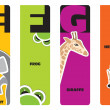 Bookmarks - animal alphabet E for elephant, F for frog, G for gi — Stock Vector #18336403