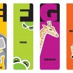 segnalibri - alfabeto degli animali e per l'elefante, f per rana, g per gi — Vettoriale Stock