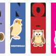Bookmarks - animal alphabet M for monkey, N for nightingale, O f — Stock Vector #18336407