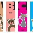 Bookmarks - animal alphabet A for ant, B for bear, C for cat, D — Stock Vector