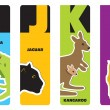 Bookmarks - animal alphabet I for iguana, J for jaguar, K for ka — Stock Vector #18336415