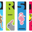 Bookmarks - animal alphabet Q for quoll, R for rabbit, S for sea — Stock Vector #18336427