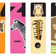 Bookmarks - animal alphabet Y for yak, Z for zebra; for kids — Stock Vector #18336431