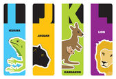 Bookmarks - animal alphabet I for iguana, J for jaguar, K for ka — Stock Vector