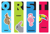 Bookmarks - animal alphabet Q for quoll, R for rabbit, S for sea — Stock Vector