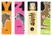 Bookmarks - animal alphabet Y for yak, Z for zebra; for kids — Stock Vector